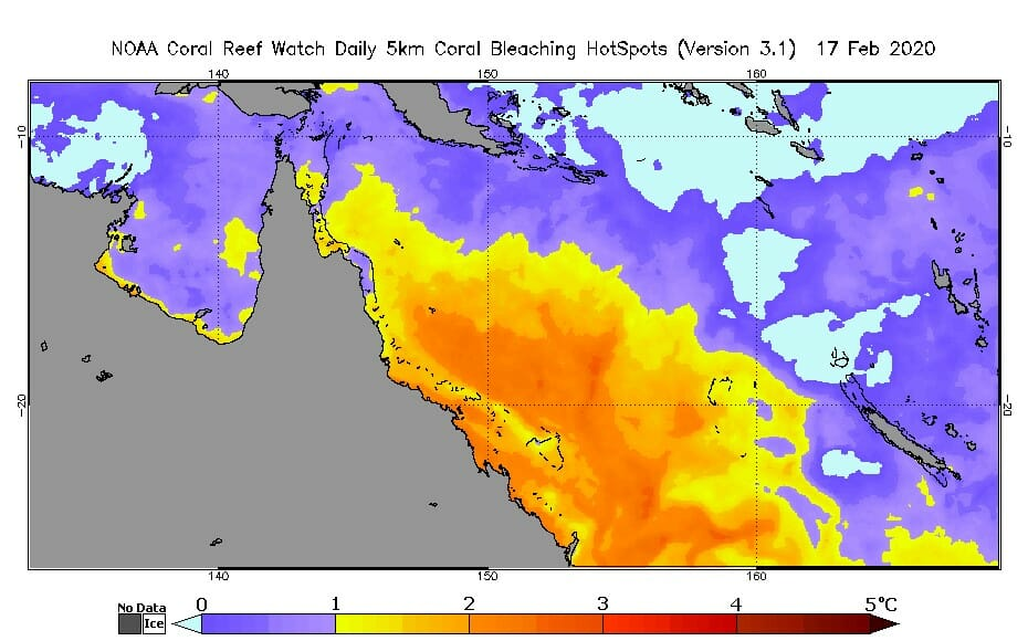 Great Barrier Reef now at severe bleaching temperatures