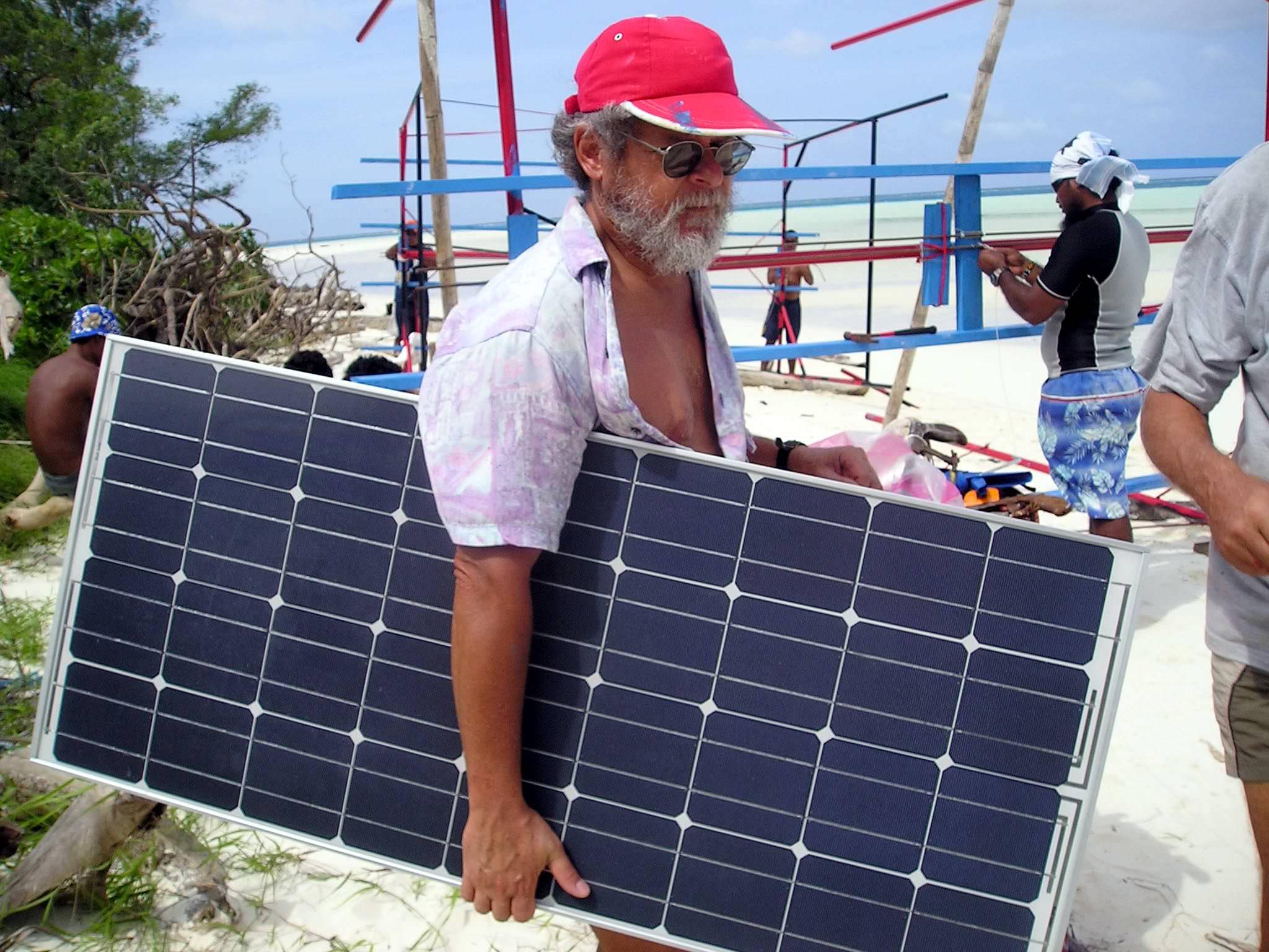 One of 32 solar panels for assembly on racks. (Caspar Henderson)